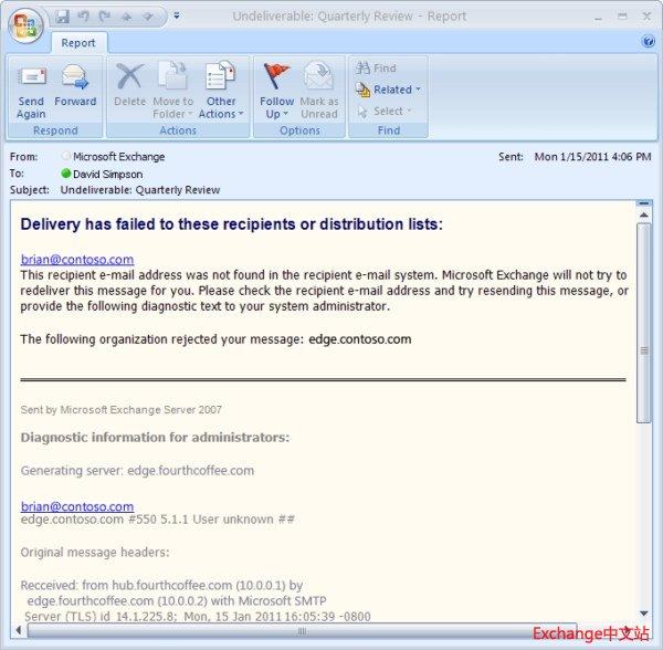 由不同服务器生成 NDR 和拒收原始邮件