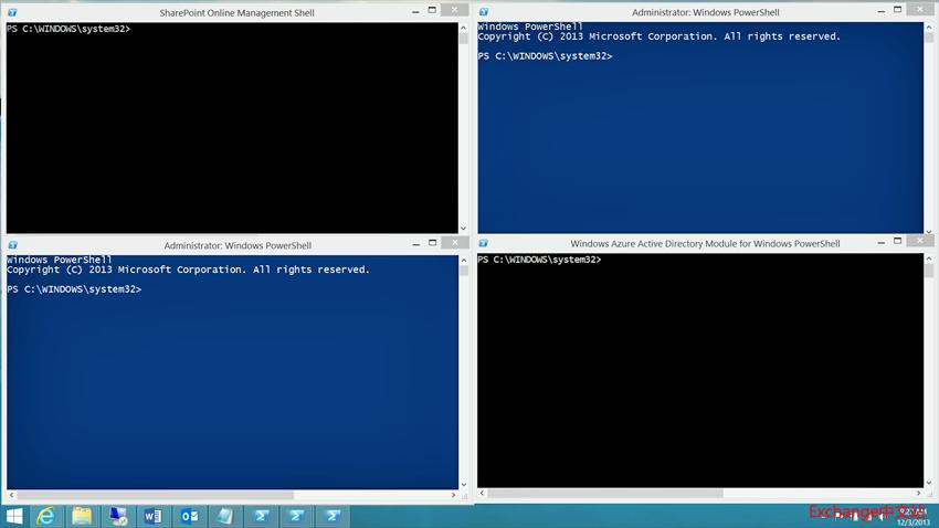 4 个 Windows PowerShell 控制台同时运行